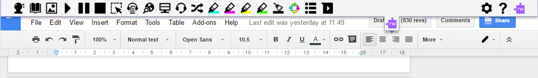 Read&Write for Google Chrome Toolbar Enabled